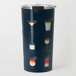 Cocktails flat menu horisontal dark blue Travel Mug