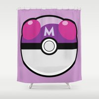 pokeball Shower Curtains featuring Master Pokeball by Pi Design Prints