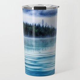 Blue Tranquil Lake Scenery Circle Travel Mug