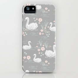 Swans painting cute girly trend cell phone case with swans pattern florals hand painted iPhone Case