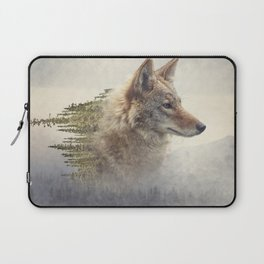 Double exposure of coyote portrait and pine forest on the mountain Laptop Sleeve