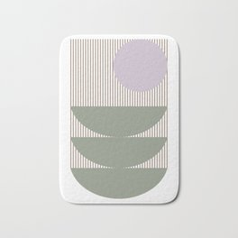 Lines and Shapes in Moss and Lilac Bath Mat