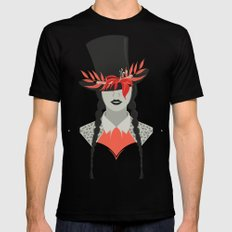 Lady in Hat MEDIUM Mens Fitted Tee Black