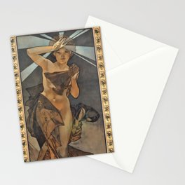"Alphonse Mucha ""The Moon and the Stars Series: The Morning Star"" Stationery Cards"