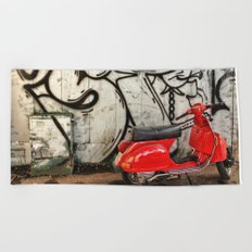 Red Vespa and graffitis Beach Towel