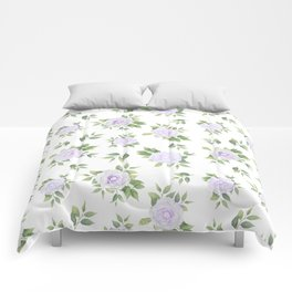 Botanical lavender white green watercolor floral Comforters