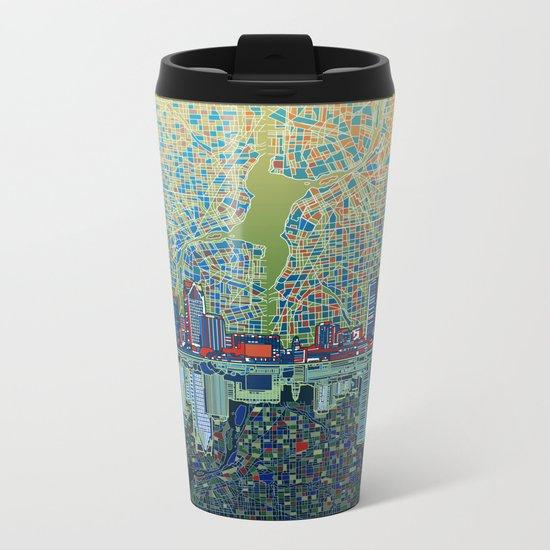 detroit city skyline Metal Travel Mug