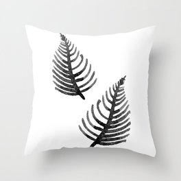 Black Watercolor Leaf Throw Pillow