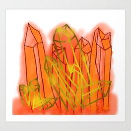 Crystals - Orange Art Print