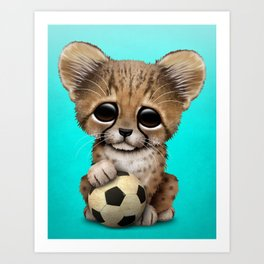 Cheetah Cub With Football Soccer Ball Art Print