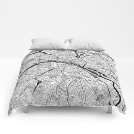 Paris Black and White Map Comforters