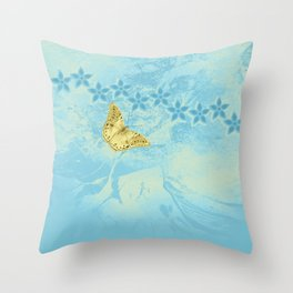 butterfly and flowers in an abstract blue grunge landscape Throw Pillow