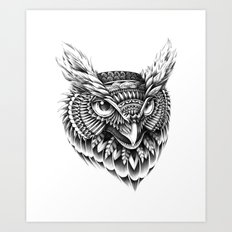 Ornate Owl Head Art Print