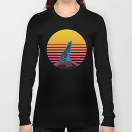 Geometric neon retro synthwave wolf Long Sleeve T-shirt