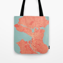 Seattle, Washington City Map, Colorful Tote Bag