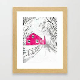 Red Barn in the Snow Framed Art Print