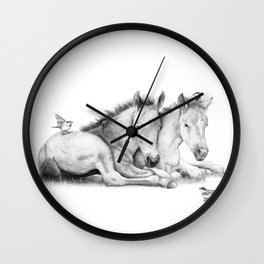 Twin Foals Wall Clock