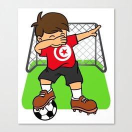 Tunisia Soccer Ball Dabbing Kid Tunisian Football Goal Canvas Print