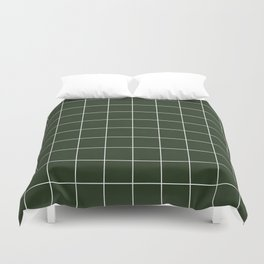 Small Grid Pattern - Deep Green Duvet Cover