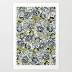 succulents chartreuse indigo Art Print