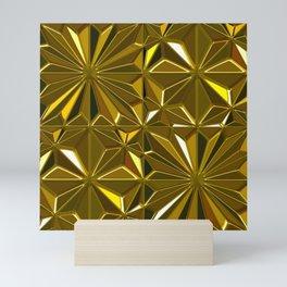 3-D Art Deco 24-Karat Gold Hues Tile Pattern Mini Art Print