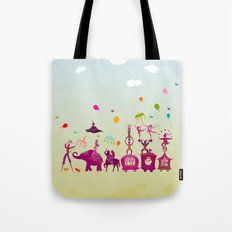 colorful circus carnival traveling in one row during daylight Tote Bag
