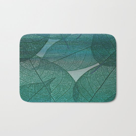Painterly Green And Blue Leaf Abstract Bath Mat