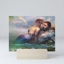 Take my breath away - Mermaid in love with soldier on the beach Mini Art Print