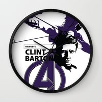 clint barton Wall Clocks featuring Clint by Mad42Sam