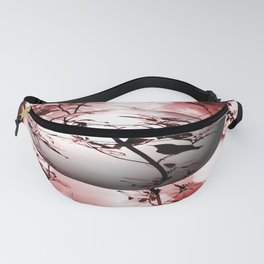 Silhouette of songbird on a branch in burgundy tone variation #decor #society6 #buyart Fanny Pack