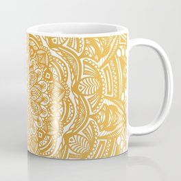 Golden Mustard Yellow Orange Ethnic Mandala Detailed Coffee Mug