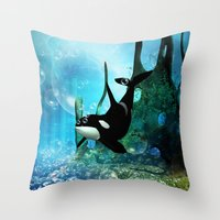 orca Throw Pillows featuring Orca by nicky2342