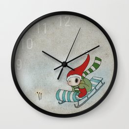 Sliding Through the Frosty Weather Wall Clock