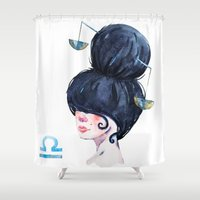 libra Shower Curtains featuring Libra by Aloke Design