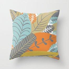 Bright Tropical Leaf Retro Mid Century Modern Throw Pillow