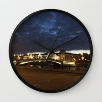 moscow Wall Clocks featuring Night Moscow. by Mikhail Zhirnov