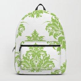 Lime Green Victorian Floral Brocade Damask Backpack
