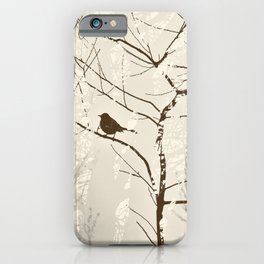 Mockingbird in Tree Graphic Nature Silhouette Brown and Cream iPhone Case