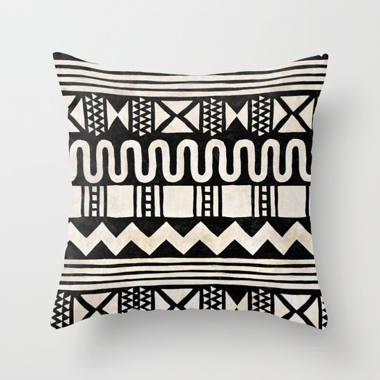 African Shapes - Black Throw Pillow by Kangarui By Rui Stalph Society6