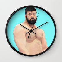 teddy bear Wall Clocks featuring Teddy by Mavekk
