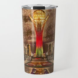 Kazakhstan Bayterek Tower Artistic Illustration Sparkle Style Travel Mug
