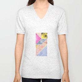 Collaged Tangram Alphabet - I Unisex V-Neck