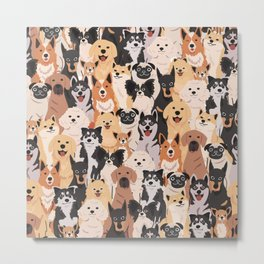 Adorable dog breeds cute doodles seamless pattern hand drawn Metal Print