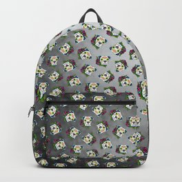 Boxer in White- Day of the Dead Sugar Skull Dog Backpack