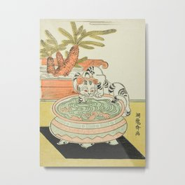 Cat Pawing at Goldfish by Isoda Koryusai, 18th Century Metal Print