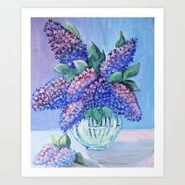 bouquet of lilac in a glass vase . arwrk Art Print