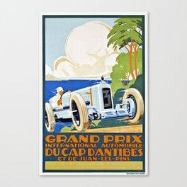 1929 Cap D'Antibes France Grand Prix Racing Poster  Canvas Print