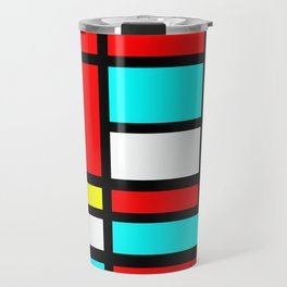 Color Block Geometric Design in Red and Turquoise II Travel Mug