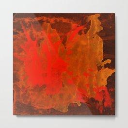 Mosaic Grunge in Orange Metal Print