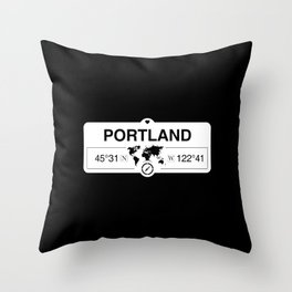 Portland Oregon Map GPS Coordinates Artwork with Compass Throw Pillow